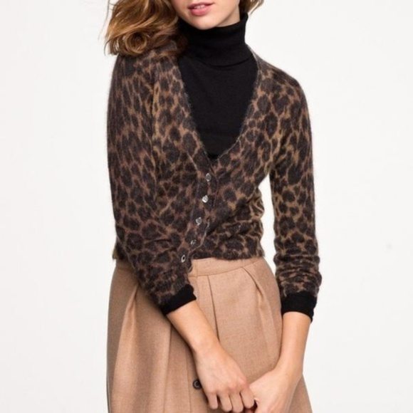 J. Crew Sweaters - J. Crew Women's Mohair Leopart  Cropped Cardigan M